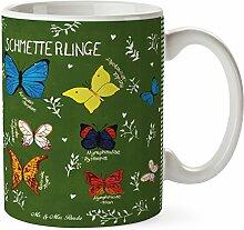 Mr. & Mrs. Panda Tasse Schmetterlinge - 100% handmade in Norddeutschland - Schmetterling, Schmetterlinge, Falter, Butterflies, Natur Motiv, Blumen Motiv, Tier Motiv, Deko Wohnung, Dekoration Tasse, Becher, Kaffeetasse, Geschenk, Teetasse, Tee, Cup, Schenken, Frühstück