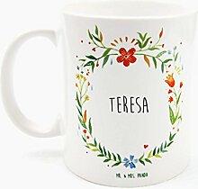 Mr. & Mrs. Panda Tasse Teresa Design Frame Barfuß Wiese - 100% handgefertigt aus Keramik Holz - Anhänger, Geschenk, Vorname, Name, Initialien, Graviert, Gravur, Schlüsselbund, handmade, exklusiv