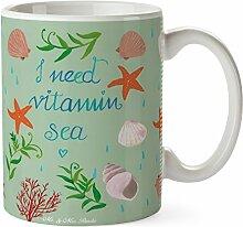 Mr. & Mrs. Panda Tasse Vitamin Sea - 100% handmade in Norddeutschland - Cup, Schwimmer Geschenk, Becher, Kaffeetasse, Tee, Geschenk, Urlaub am Meer, Schwimmen Spruch, Keramik, Strand Urlaub, See, Tasse