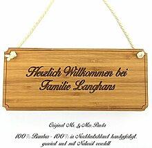 Mr. & Mrs. Panda Türschild Nachname Langhans Classic Schild - 100% handgefertigt aus Bambus Holz - Anhänger, Geschenk, Nachname, Name, Initialien, Graviert, Gravur, Schlüsselbund, handmade, exklusiv