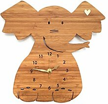 Mr. & Mrs. Panda Uhr Elefant fürs Kinderzimmer, 100% handgefertigt aus Bambusholz (Wanduhr, Kinderuhr, Kinderzimmer, Deko, Wanddeko)