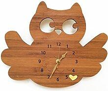 Mr. & Mrs. Panda Uhr Eule breitflügel, 100% handgefertigt aus Bambusholz (Wanduhr, Kinderuhr, Kinderzimmer, Deko, Wanddeko)