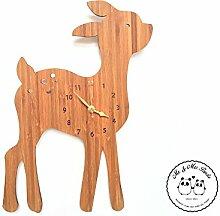 Mr. & Mrs. Panda Uhr Reh Rehkitz, 100% handgefertigt aus Bambusholz (Wanduhr, Kinderuhr, Kinderzimmer, Deko, Wanddeko)
