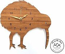 Mr. & Mrs. Panda Wanduhr Kiwi Vogel - 100% handmade in Norddeutschland - Kiwi, vogel, Kiwivogel, Neuseeland, Newzealand Wanduhr, Uhr, Kinderuhr, Kinderzimmer, Wanddeko, Deko, Geschenk, Clock, modern, Schenken, Zeit, Einrichten, Uhrwerk, Wohnzimmer, Holz