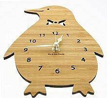 Mr. & Mrs. Panda Wanduhr Pinguin - 100% handmade in Norddeutschland - Pinguin, Eisscholle, Nordpol, Anzug, Fliege, Wrack, Pingu Wanduhr, Uhr, Kinderuhr, Kinderzimmer, Wanddeko, Deko, Geschenk, Clock, modern, Schenken, Zeit, Einrichten, Uhrwerk, Wohnzimmer, Holz