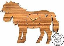 Mr. & Mrs. Panda Wanduhr Pony - 100% handmade aus Bambus - Pony, Pferd, Wiese, Bauernhof, Reiterhof, Reiterferien, Sattel, Reiten, Pferdeäpfel Wanduhr, Uhr, Kinderuhr, Kinderzimmer, Wanddeko, Deko Pony, Pferd, Wiese, Bauernhof, Reiterhof, Reiterferien, Sattel, Reiten, Pferdeäpfel