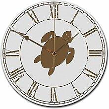 Mr. & Mrs. Panda Wanduhr rund Schildkröte - 100% handmade in Norddeutschland - Schildkröte, Panzer, Turtle Wanduhr, Uhr, Kinderuhr, Kinderzimmer, Wanddeko, Deko, Geschenk, Clock, modern, Schenken, Zeit, Einrichten, Uhrwerk, Wohnzimmer, Holz, rund