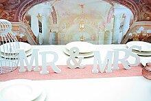 MR&MRS Set mit 6 Holzbuchstaben, weiß ca. 20cm