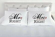 Mr rechts Mrs always right Kissenbezug Paar von