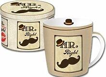 Mr Right Kaffeetasse Becher in Geschenkblechdose Jumbobecher