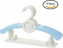 MRKE Kleiderbügel Kinder, 15er Set Baby Kinderkleiderbügel Babykleiderbügel Kunststoff Hangers für Kleiderschrank Kleidung, Länge Justierbar 28-37 cm, Blau