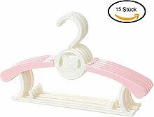 MRKE Kleiderbügel Kinder, 15er Set Baby Kinderkleiderbügel Babykleiderbügel Kunststoff Hangers für Kleiderschrank Kleidung, Länge Justierbar 28-37 cm, Rosa