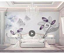 MRQXDP Wandtapete mit violetten Diamanten, Blume,