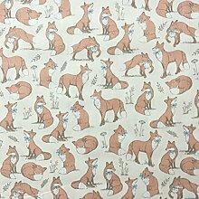Mrs Fox Creme, 100% Baumwolle, Design Woodlands