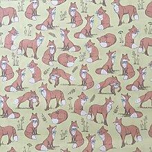 Mrs Fox lime 100% Lifestyle Baumwolle Print Woodlands Collection Jungen/Mädchen Kinderzimmer Vorhänge Kids/Kinder, Wimpelkette, Designer Bettwaren, Kissen, Polstermöbel Schlafzimmer Vorhänge Stoff 137,2cm breit–von der halben Meter