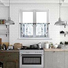 MRTREES Gardinen für Küche, 61 cm lang, blaue