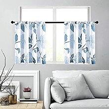 MRTREES Gardinen für Küche, 76,2 cm lang, blaue