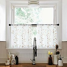 MRTREES Gardinen mit Blättermotiv, 76,2 x 61 cm,