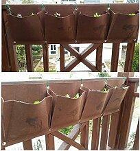 MS 4-Tasche Horizontale Blume Veg Pflanze wachsen Taschen Planter Dekor hängende Wand TO378 (braun)