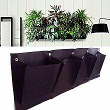 MS 4-Tasche Horizontale Blume Veg Pflanze wachsen Taschen Planter Dekor hängende Wand TO378 (schwarz)