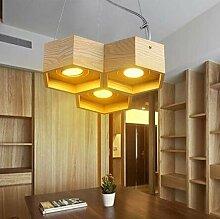 MSAJ-Holz- Waben Kronleuchter designer Nordic art kreative Pers?nlichkeit Kronleuchter Esszimmer Wohnzimmer minimalistischen Kronleuchter mit einem Durchmesser von 330/690/450mm , 3 Leiter