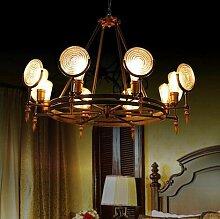 MSAJ-Industrial style Pendelleuchte Cafe Atmosph?re Dekoration Wohnzimmer von schmiedeeisernen Kronleuchter, antike Lampen runden Glas 650/980*350/500mm, 8 Leiter
