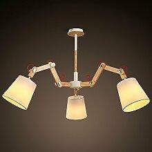 MSAJ-Moderne Nordic minimalistische 3-Leiter n?hen rocker Kreative Beleuchtung Wohnzimmer Esszimmer Schlafzimmer Kronleuchter aus Holz 1300*1000mm, wei?