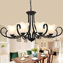 MSAJ-Vintage Schmiedeeisen American country warmen Wohnzimmer Schlafzimmer Zimmer Kontinentales kreative Kronleuchter Lampe Lampe Glas Durchmesser 650/800/900mm hoch 850mm , 8 Leiter