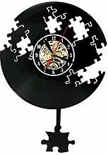 MSAMH 1 Stück Jigsaw Vinyl Record Wanduhr Fallen