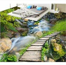 MSCLY Holzbrücke Wasserfall 3D Bodenbelag Tapete