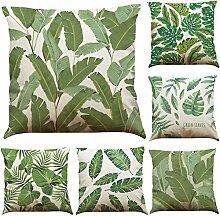 MStar 6 Stück Grün Pflanze gedruckt Muster Kissenbezug 45X45cm Leinen-Baumwoll atmungsaktiv Kissenhülle Kopfkissenbezug (A)