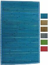 MSV Badematte Badvorleger Bambus 50x80 Blau