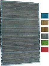 MSV Badematte Badvorleger Bambus 50x80 Grau