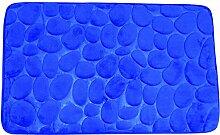 MSV Badteppich Badvorleger Duschvorleger Kieselstein Badematte 50x80 cm – Blau