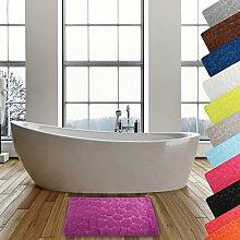 MSV Badteppich Badvorleger Duschvorleger Kieselstein Badematte waschbar, schnelltrocknend, rutschfest 50x80 cm – Lila