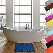 MSV Badteppich Badvorleger Duschvorleger Kieselstein Badematte waschbar, schnelltrocknend, rutschfest 50x80 cm – Blau