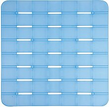 MSV Duschmatte Badematte antibakteriell rutschfest mit Saugnäpfen - Blau - ca. 55 x 55 cm