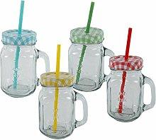 MT Glas mit Henkel incl. Deckel und Strohhalm 4er