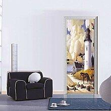 MTHZNN 3D-Tür-Fototapete, Aufkleber,