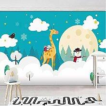 Mtisrx Fototapete Kunst Weiße Wolken Giraffe