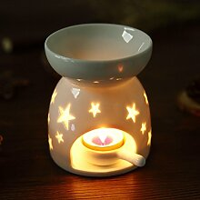Mucihom Keramik Duftlampe mit Kerzenhalter Weiß