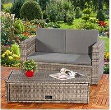 Mucola Gartenmöbelset Polyrattan Gartensofa und