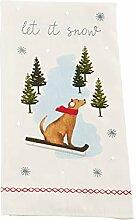 Mud Pie Weihnachts-Handtuch mit Aufschrift Let it