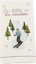 Mud Pie Weihnachts-Handtuch mit Skifahrer-Motiv,