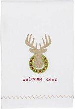 Mud Pie Welcome Deer Handtuch mit französischem