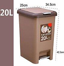 Müllcontainer, Hand drücken, Schritte, Mülltonnen, Couch, Kreative Kunststoff, Büro, Badezimmer, Wohnzimmer, Küche, Haushalt ( Farbe : Braun , größe : 20l )
