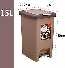 Müllcontainer, Hand drücken, Schritte, Mülltonnen, Couch, Kreative Kunststoff, Büro, Badezimmer, Wohnzimmer, Küche, Haushalt ( Farbe : Braun , größe : 15l )