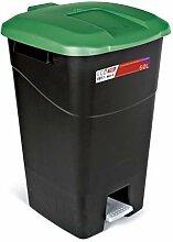 Mülleimer 60 Liter mit Pedal, schwarzer Boden und