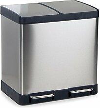 Mülleimer Abfalleimer OSLO aus Edelstahl Mülltrennsystem für die Küche, Maße: 49x39x49 cm (L/B/H), Volumen: ca. 40 Liter