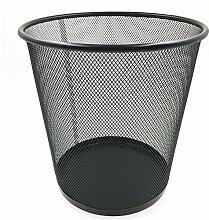 Mülleimer Büro Haushalt mit Großen Metall Mesh Abfall Papier Korb Runde Mülleimer Edelstahl Lagerfässer , Black , S